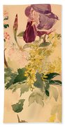 Flower Piece With Iris Laburnum And Geranium Beach Towel