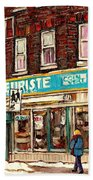 Flower Shop Rue Notre Dame Street Coin Vert Fleuriste Boutique Montreal Winter Stroll Scene Beach Towel