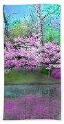 Flower Tree Reflections Beach Towel