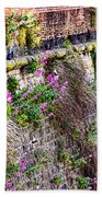 Flower Wall Along The Arno River- Florence Italy Beach Towel