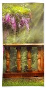 Flower - Wisteria - A Lovers View Beach Towel by Mike Savad