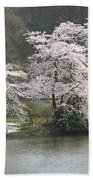 Flowering Tree At The Pond Beach Towel