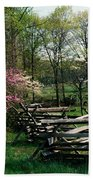 Flowering Trees In Bloom Along Fence Beach Towel