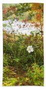 Flowers Along The River In Fall Beach Towel