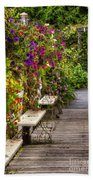 Flowers By A Bench  Beach Towel