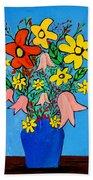 Flowers In A Blue Vase Beach Towel