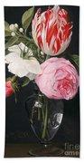 Flowers In A Glass Vase Beach Towel by Daniel Seghers