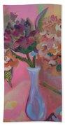 Flowers In A Lavender Vase Beach Towel