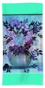 Flowers In A Vase With Blue Border Beach Towel
