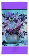 Flowers In A Vase With Lilac Border Beach Towel