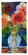 Flowers In Glass Vase Beach Towel