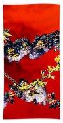 Flowers In Red Beach Towel