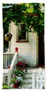 Flowers On Steps Beach Towel