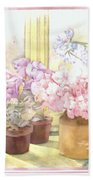 Flowers On The Windowsill Beach Towel by Julia Rowntree