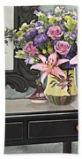 Flowers Table And Mirror In The Foyer Still Life Beach Towel