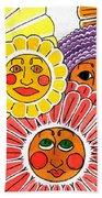 Flowers With Faces Beach Towel