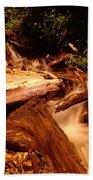 Flowing Betwixed Old Wood Near Mt St Helens Beach Towel