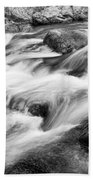 Flowing St Vrain Creek Black And White Beach Towel