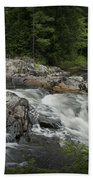 Flowing Stream With Waterfall In Vermont Beach Towel