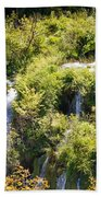 Flowing Water On Falling Lakes Of Plitvice Beach Towel