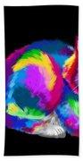 Fluffy Rainbow Cat 2 Beach Towel