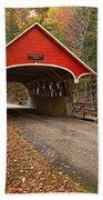 Flume Gorge Covered Bridge Fall Colors Beach Towel