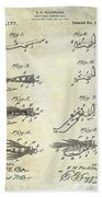1922 Fly Fishing Lure Patent Drawing Beach Towel
