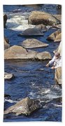 Fly Fishing On Mountain River Beach Towel
