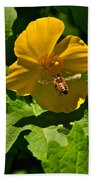 Flying Bee And Wood Poppy Beach Towel
