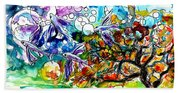 Flying Fish Tree And Bubbles Beach Towel