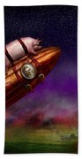 Flying Pig - Rocket - To The Moon Or Bust Beach Towel by Mike Savad