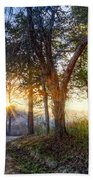 Fog At The Farm Beach Towel