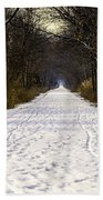 Fog On The Winter Macomb Orchard Trail Beach Towel