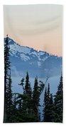 Mt. Rainier's Foggy Sunset Beach Towel
