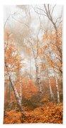 Foggy Autumn Aspens Beach Towel