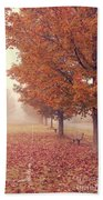 Foggy Autumn Morning Etna New Hampshire Beach Towel