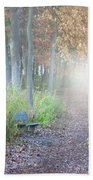 Foggy Autumn Morning Beach Towel
