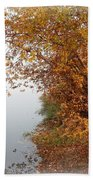 Foggy Autumn Riverbank Beach Sheet
