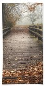 Foggy Lake Park Footbridge Beach Towel by Scott Norris
