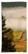 Foggy Morning Drive Beach Towel