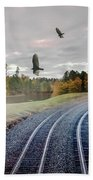 Foggy Nature Along The Train Tracks Beach Towel