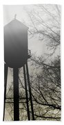 Foggy Tower Silhouette Beach Towel