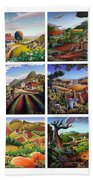 Folk Art Seasonal Seasons Sampler Greetings Rural Country Farm Collection Farms Landscape Scene Beach Towel