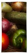 Food - Vegetables - Onions Tomatoes Peppers And Cucumbers Beach Towel