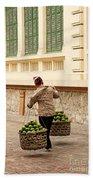 Food Vendor On Street Hanoi Vietnam Beach Towel