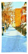 Footprints In The Snow Montreal Winter Street Scene Paintings Verdun Christmas  Memories  Beach Towel