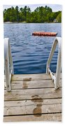Footprints On Dock At Summer Lake Beach Towel