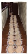 Footsteps On Wooden Stairs Beach Towel