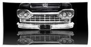 Ford F100 Truck Reflection On Black Beach Towel