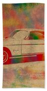 Ford Mustang Watercolor Portrait On Worn Distressed Canvas Beach Towel
